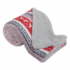 Oboustranná beránková deka, zimní motiv, 150x200, RENIFE