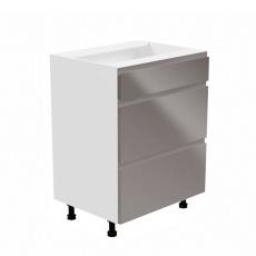 Spodní skříňka, bílá / šedá extra vysoký lesk, levá, AURORA D60S3