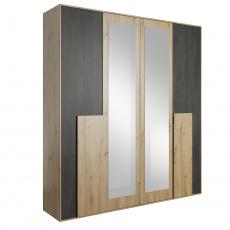 Skříň se zrcadlem, dub artisan/černá borovice norská, BAFRA 4D