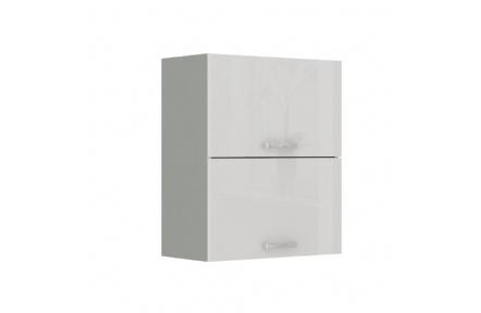 Skříňka horní, bílá extra vysoký lesk / šedá, PRADO 60 GU-72
