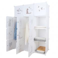 Dětská modulární skříň, bílá / hnědý dětský vzor, KITARO