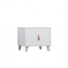 Noční stolek, bílá, ABS hrany, FIERA