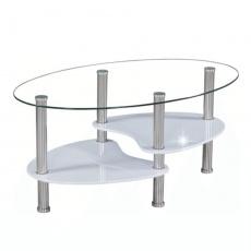 Konferenční stolek, ocel/sklo/bílá extra vysoký lesk HG, AXEL NEW
