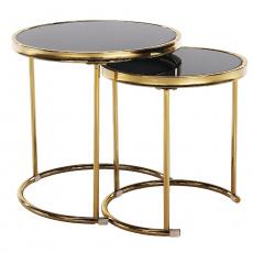 Set 2 konferenčních stolků, gold chrom zlatá/černá, MORINO