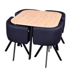 Jídelní set 1 + 4, dub / černá, BEVIS