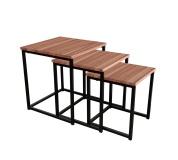 Set 3 konferenčních stolků, ořech/černá, Kastler TYP 3
