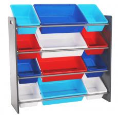 Organizér na hračky, vícebarevná / šedá, KIDO TYP 1
