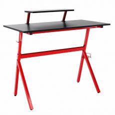 PC stůl / herní stůl, červená / čierna, LATIF