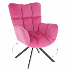 Designové otočné křeslo, růžová Velvet látka / černá, KOMODO
