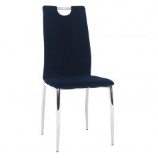 Jídelní židle, modrá Velvet látka / chrom, OLIVA NEW