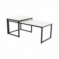 Set 2 konferenčních stolků, matná bílá / černá, KASTLER NEW TYP 2