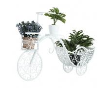 RETRO květináč ve tvaru bycikel, bílá, ALENTO