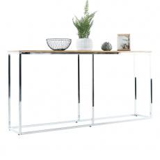 Konzolový stolek v industriálním stylu, dub / chrom, KORNIS