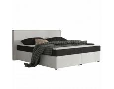 Komfortní postel, černá látka / bílá ekokůže, 180x200, NOVARA MEGAKOMFORT