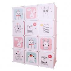 Dětská modulární skříň, růžová / dětský vzor, NURMI