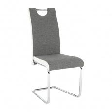 Židle, látka šedá / ekokůže bílá / chrom, Izma