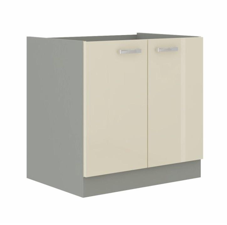 Skříňka dolní, krémová extra vysoký lesk/šedá, PRADO 80 D 2F BB