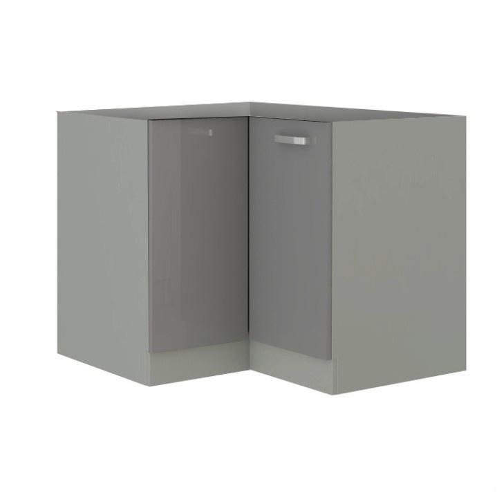 Skříňka dolní, šedá extra vysoký lesk/šedá, PRADO 90/90 DN BB