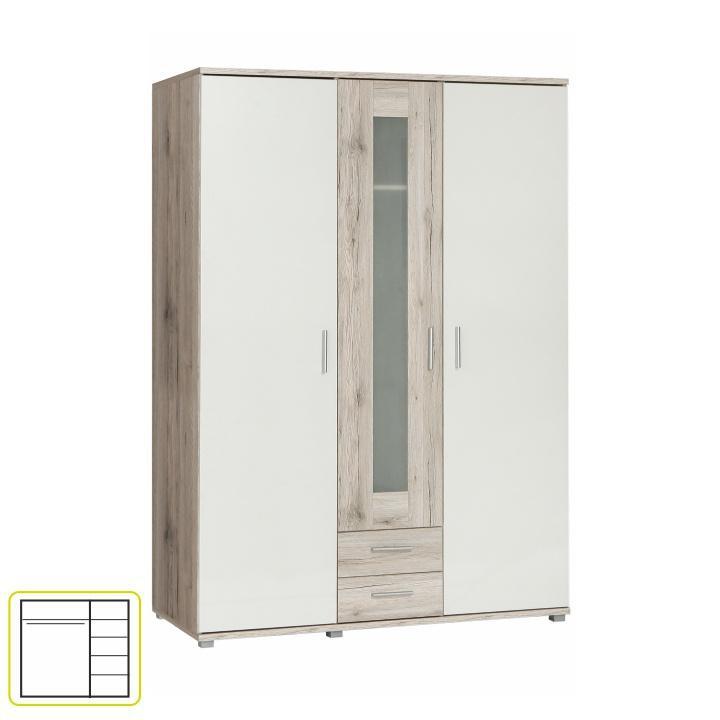 Věšáková skříň s policemi, dub pískový/bílá, VALERIA