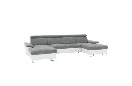 Rohová sedací souprava ve tvaru U, ekokůže bílá / látka šedá, MAGIC