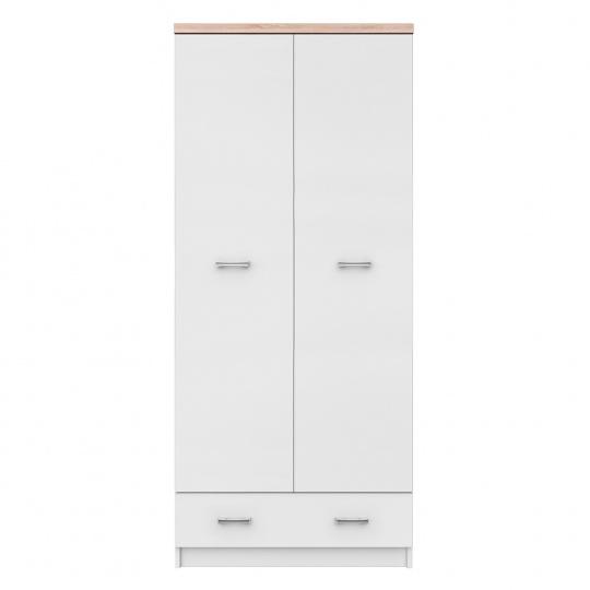 Dvoudveřová skříň 2D1S, bílá / dub sonoma, TOPTY