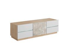 RTV stolek, beton / dub jantar / bílý mat, LAGUNA 135