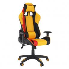 Kancelářské/herní křeslo, žlutá/černá/oranžová, SOLERO