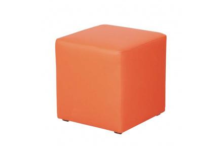 Taburetka, ekokůže oranžová, KUBIK