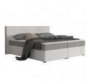 Komfortní postel, šedá látka / bílá ekokůže, 180x200, NOVARA MEGAKOMFORT