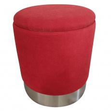 Taburet s úložným prostorem, oxy fire červená / stříbrná chrom, Daron