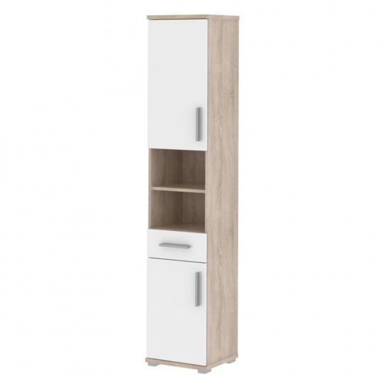 Kombinovaná koupelnová skříňka, bílý pololesk / dub sonoma, Lessy LI 05