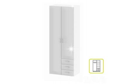 Skříň, 2 - dveřní, bílá extra vysoký lesk HG, GWEN 70425