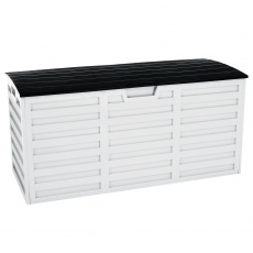Zahradní úložný box, bílá / černá, PADMO