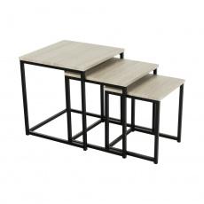 Set 3 konferenčních stolků, dub sonoma / černá, KASTLER NEW TYP 3