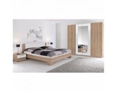Ložnicový komplet (skříň, postel a 2 noční stolky), dub sonoma / bílá, MARTINA