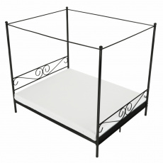 Kovová postel s nebesy, černá, 160x200, Abena
