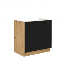 Spodní dřezová skříňka, černý mat / dub artisan, Monro 80ZL 2F BB