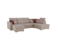 Luxusní sedací souprava, béžová / cihlová, pravá, MARIETA U