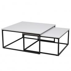 Set dvou konferenčních stolků, matná bílá / černá, Kastler TYP 1