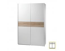 Dvoudveřová skříň, s posuvnými dveřmi, bílá/dub sonoma, VICTOR NEW 1